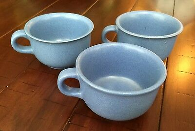 3 Dansk Sky Blue Mesa Stonware Coffee Tea Cups Mugs Microwaveable Portugal