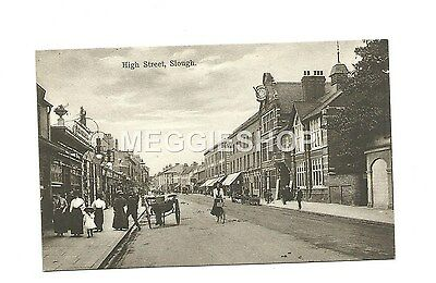 Berkshire: Slough : High Street - Old Postcard Lady On A Bicycle