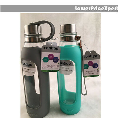 Contigo Purity Glass Water Bottle with Slicone Sleeve leak-proof 591ml