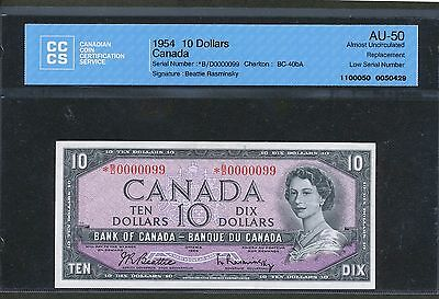 1954 $10 Bank of Canada *BD B/D0000099 Low Serial number! AU-50 CCCS BC-40bA