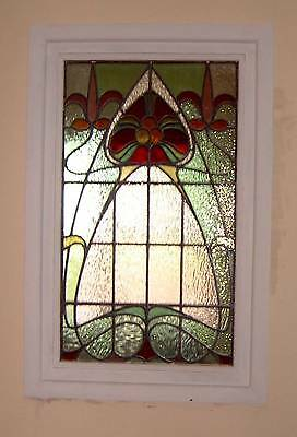 Stained glass Art Nouveau window textured glass.
