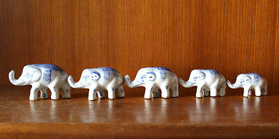 Oriental ceramic elephants in blue and white