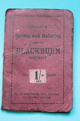 Vintage Bacon's Canvas Pocket Road Map For Cycle & Motorist.blackburn Area.