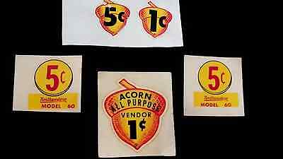 Vintage Authentic Water-Transfer Decals For Gumball Vendor