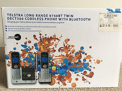 2 x Telstra long range 9750BT twin DECT360 cordless phone with bluetooth