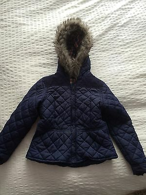 Age 8-9 Quilted Navy Fitted Jacket.
