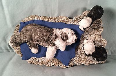 Old English Sheepdog Mom & 2 Pups Figurine Signed By Helen Dudley, Pristine