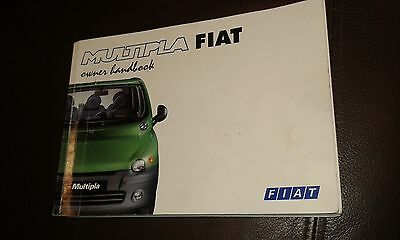 Fiat Multipla Owners Handbook. Dated 1999