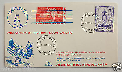 1970 VATICAN Cover Envelope Anniversary First Moon Landing APOLLO 11 SC Stamp