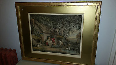19thC Victorian Handtinted Engraving 'The Happy Cottagers' Landscape Gilt Frame