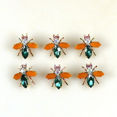 SIX beautiful Handmade CZECH RHINESTONES Buttons  E 298