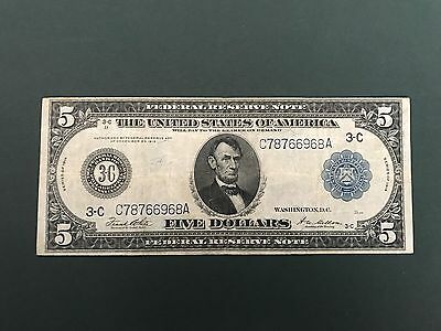 1914 $5  Federal Reserve Note US CURRENCY