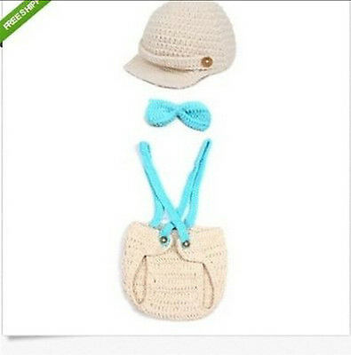 NEW Crochet Baby Cap Bow Diaper Costume Newborn Knitted Photography 0-6 #01