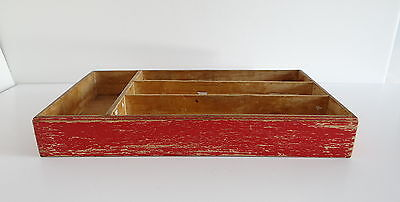 Wood Silverware Flatware Utensil Tray Box Dovetail Vintage Drawer Organizer