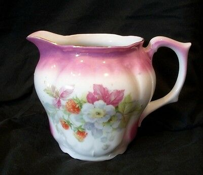 Strawberry Embossed German Lusterware Porcelain Antique Pitcher