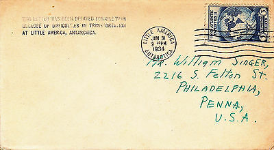 [A50]1934 One year delayed Cover from Little America,Antarctica to Phila, Pa.