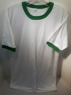 1970's Super Thin Blank Green Ringer T-Shirt (DEADSTOCK) Size X-Large