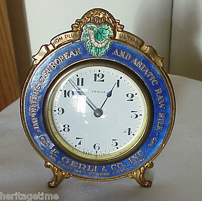 ANTIQUE 1915 GUILLOCHE ENAMEL RAW SILK IMPORTER ADVERTISING CLOCK Design