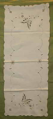 Vintage Ivory Madeira Embroidered Table Topper/Runner - Embroidered Butterflies