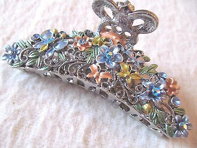 Vintage Style Hair Butterfly Clip~Enamel And Rhinestones