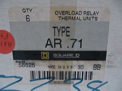 (Lot of 6 NEW) Overload Relay Thermal Units Type AR.71 58625