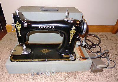 Old Vintage Graybar Portable Sewing Machine Decorative Graphics In Carry Case
