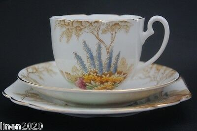 MELBA bone china fine grade cup, saucer and plate trio. Made in England.