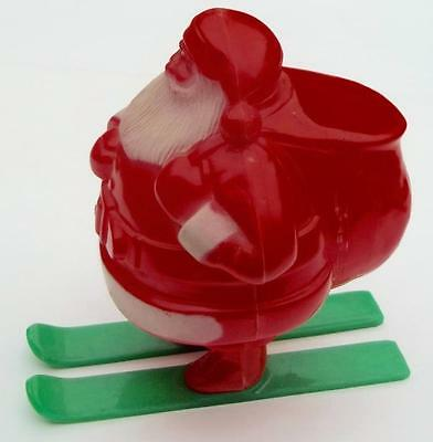 Vintage SKIING SANTA CLAUS Celluloid Figurine Candy Container