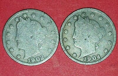 1902 And 1904 Liberty Nickels  ID #11-9,22