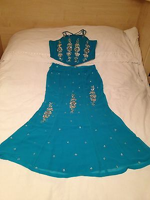 Indian Blue Lengha Size 14 approx