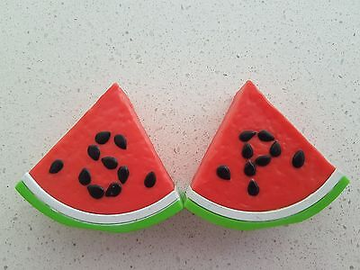 WATERMELON SALT AND PEPPER SHAKERS retro