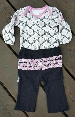 Vitamins Baby Girls Pink and Black Outfit Set size 3 months