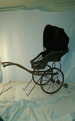 Antique Baby Doll Pram Carriage Buggy Dolly Stroller Wicker Large