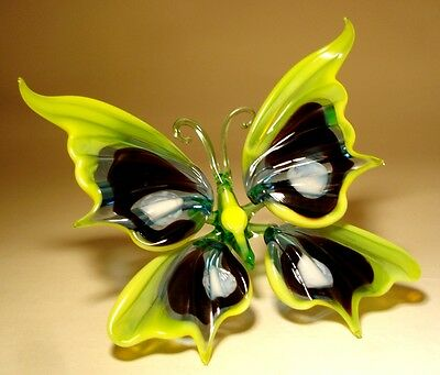 """Blown Glass Figurine """"Murano"""" Art Insect Yellow, Black and White BUTTERFLY"""
