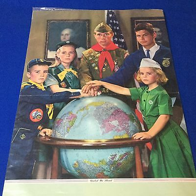"""Boy Scout & Girl Scout Poster United We Stand 33"""" x 16"""""""