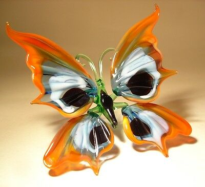 """Blown Glass Figurine """"Murano"""" Art Insect Orange White and Black BUTTERFLY"""