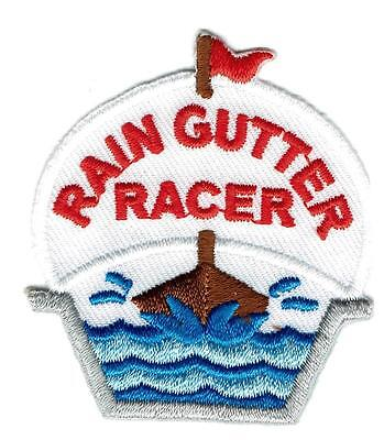 Girl Boy Cub RAIN GUTTER RACER Derby Fun Patches Crests Badges SCOUT GUIDE Race