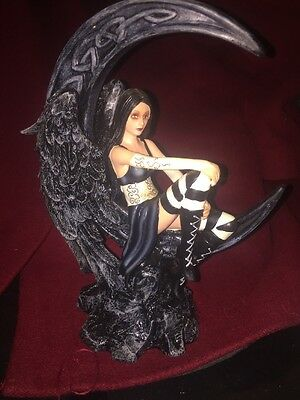 Goth Angel Statius Black Wings Sitting On A Crescent Moon 10 Inches Tall