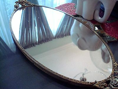 Oval Ornate Roses Mirror Vanity Tray or Wall Mirror - Good Vintage Condition!!