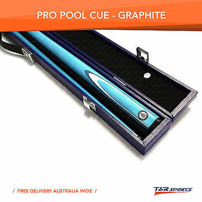 Blue Full Length 2-Piece Pool Snooker Billiard Graphite Cue With Blue Case AU