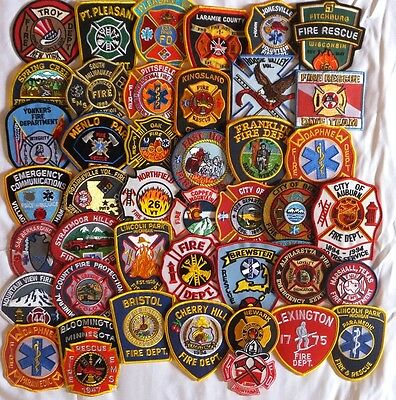 42 mixed USA Fire Departments Firefighter patches NEW!!