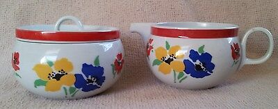 Block Anemone Sugar & Creamer~Red, Blue & Yellow Flowers with Green Leaves