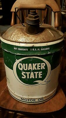 Vintage 5 gallon Quaker State advertising motor oil can