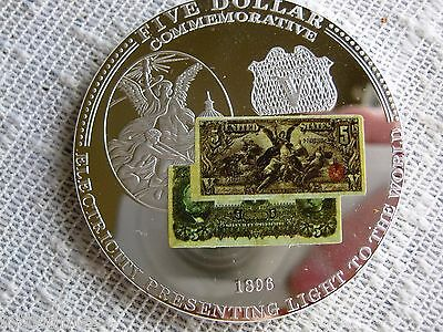 Commemorative Coin 1896 $5 Silver Certificate Electricity Light To The World