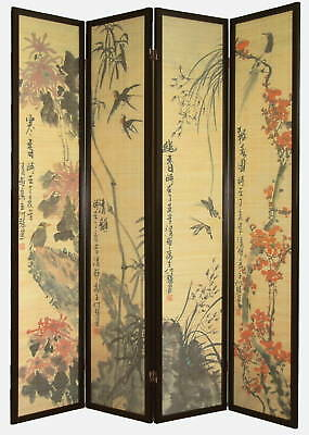 4 Panel Wood/Bamboo Flowers & Birds Screen / Room Divider
