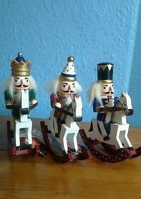 Wooden Christmas Nutcracker On A Rocking Horse Soldier Decoration New Free Post