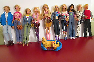 10 Barbie & Ken Dolls in Casual Clothing with 2 Dogs