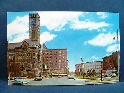 Postcard OH Springfield 1950's Esplanade Street View Old Cars & Stores