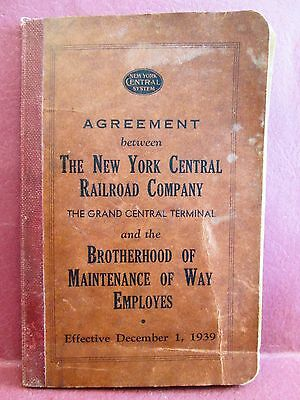 1939 Union Agreement NY Central Railroad Co & Brotherhood Maintenance of Way