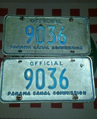 Vintage Panama Canal license plates official